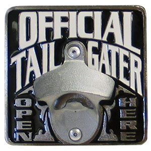 Tailgater Hitch Cover - Our tailgater hitch cover   features a functional bottle opener and team emblem with enameled finish.