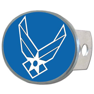 Air Force Oval Hitch Cover - This metal hitch cover features the Air Force logo. Fits class II and III hitch receivers.