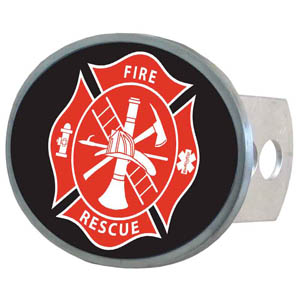 Fire Fighter Oval Hitch Cover - This metal hitch cover features the fire Fighters logo. Fits class II and III hitch receivers.