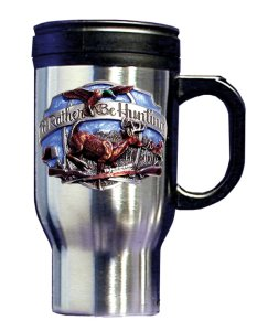 Travel Mug - Rather Be Hunting - Our Rather Be Hunting stainless travel mugs feature a hand enameled 3-D emblem. 14 oz capacity. Great for collections or personal use.