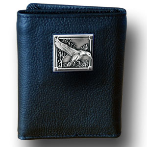 Tri-fold Wallet - Mallard Ducks - Our tri-fold wallet is made of high quality fine grain leather with a Mallard Ducks emblem sculpted in in fine detail on the front panel. Includes slots for credit and business cards and clear plastic photo sleeves.