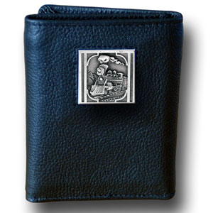 Tri-fold Wallet -  Train Locomotive - This Train Locomotive tri-fold wallet is made of high quality fine grain leather with a Train emblem sculpted in in fine detail on the front panel. Includes slots for credit and business cards and clear plastic photo sleeves.