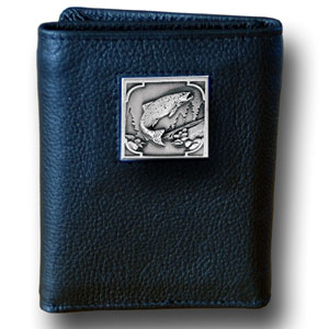 Tri-fold Wallet - Salmon - Our tri-fold wallet is made of high quality fine grain leather with a Salmon emblem sculpted in in fine detail on the front panel. Includes slots for credit and business cards and clear plastic photo sleeves.