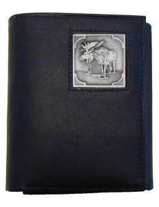 Tri-fold Wallet - Moose - Our tri-fold wallet is made of high quality fine grain leather with a Moose emblem sculpted in in fine detail on the front panel. Includes slots for credit and business cards and clear plastic photo sleeves.