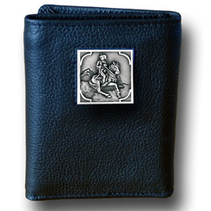 Tri-fold Wallet - Cowboy on Horse - Our tri-fold wallet is made of high quality fine grain leather with a Cowboy on Horse emblem sculpted in in fine detail on the front panel. Includes slots for credit and business cards and clear plastic photo sleeves.