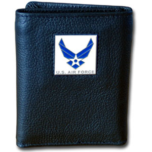 Tri-fold Wallet - Air Force - Our tri-fold wallet is made of high quality fine grain leather with an armed forces emblem sculpted in in fine detail on the front panel. Includes slots for credit and business cards and clear plastic photo sleeves.
