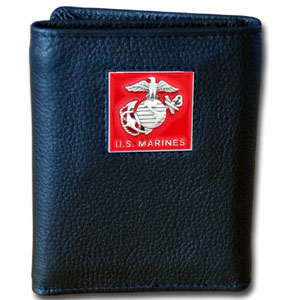 Tri-fold Wallet - Marines - Our tri-fold wallet is made of high quality fine grain leather with an armed forces emblem sculpted in in fine detail on the front panel. Includes slots for credit and business cards and clear plastic photo sleeves.