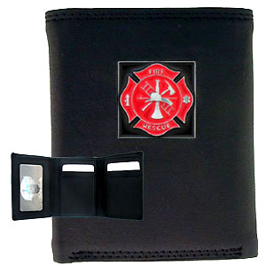 Tri-fold Wallet - Fire Fighter - Our tri-fold wallet is made of high quality fine grain leather with a fire fighter emblem sculpted in in fine detail on the front panel. Includes slots for credit and business cards and clear plastic photo sleeves.