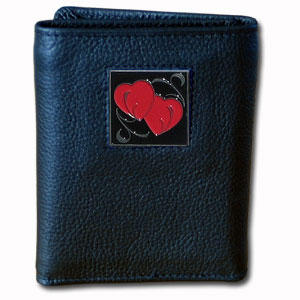 Tri-fold Wallet - Double Heart - Our tri-fold wallet is made of high quality fine grain leather with a Carpenter emblem sculpted in in fine detail on the front panel. Includes slots for credit and business cards and clear plastic photo sleeves.