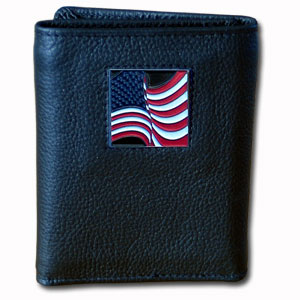Tri-fold Wallet - American Flag - Our tri-fold wallet is made of high quality fine grain leather with a Carpenter emblem sculpted in in fine detail on the front panel. Includes slots for credit and business cards and clear plastic photo sleeves.