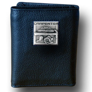Tri-fold Wallet - Carpenter - Our tri-fold wallet is made of high quality fine grain leather with a Carpenter emblem sculpted in in fine detail on the front panel. Includes slots for credit and business cards and clear plastic photo sleeves.