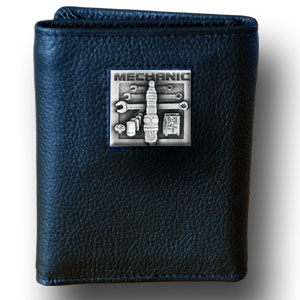 Tri-fold Wallet - Mechanic - Our tri-fold wallet is made of high quality fine grain leather with a Mechanic emblem sculpted in in fine detail on the front panel. Includes slots for credit and business cards and clear plastic photo sleeves.