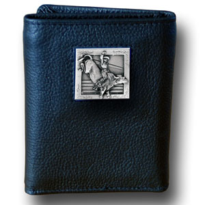 Tri-fold Wallet - Bull Rider - Our tri-fold wallet is made of high quality fine grain leather with a Bull Rider emblem sculpted in in fine detail on the front panel. Includes slots for credit and business cards and clear plastic photo sleeves.