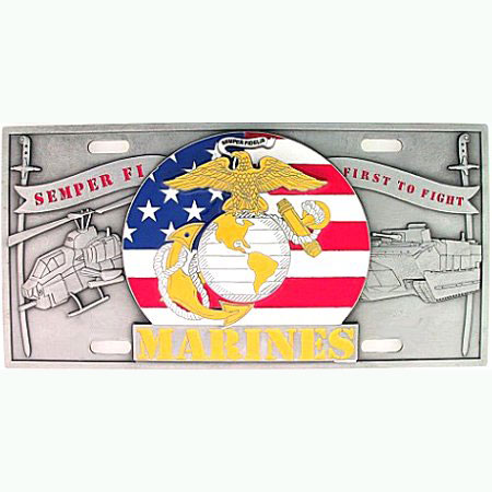 "Marines - 3D License Plate - Our US Marines license plate features enameled 3-D design in durable to withstand varying weather conditions. Made for your automobile but also great to display at work or home. 11 3/4"" X 5 13/16"""