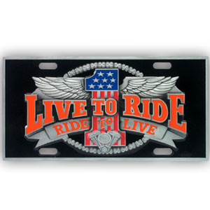 "Live to Ride - 3D License Plate - Our Live to Ride license plate features enameled 3-D design in durable to withstand varying weather conditions. Made for your automobile but also great to display at work or home. 11 3/4"" X 5 13/16"""