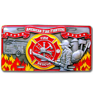 "Fire Fighter - 3D License Plate - Our Fire Fighter license plate features enameled 3-dimensional design in durable to withstand varying weather conditions. Made for your automobile but also great to display at work or home. 11 3/4"" X 5 13/16"""