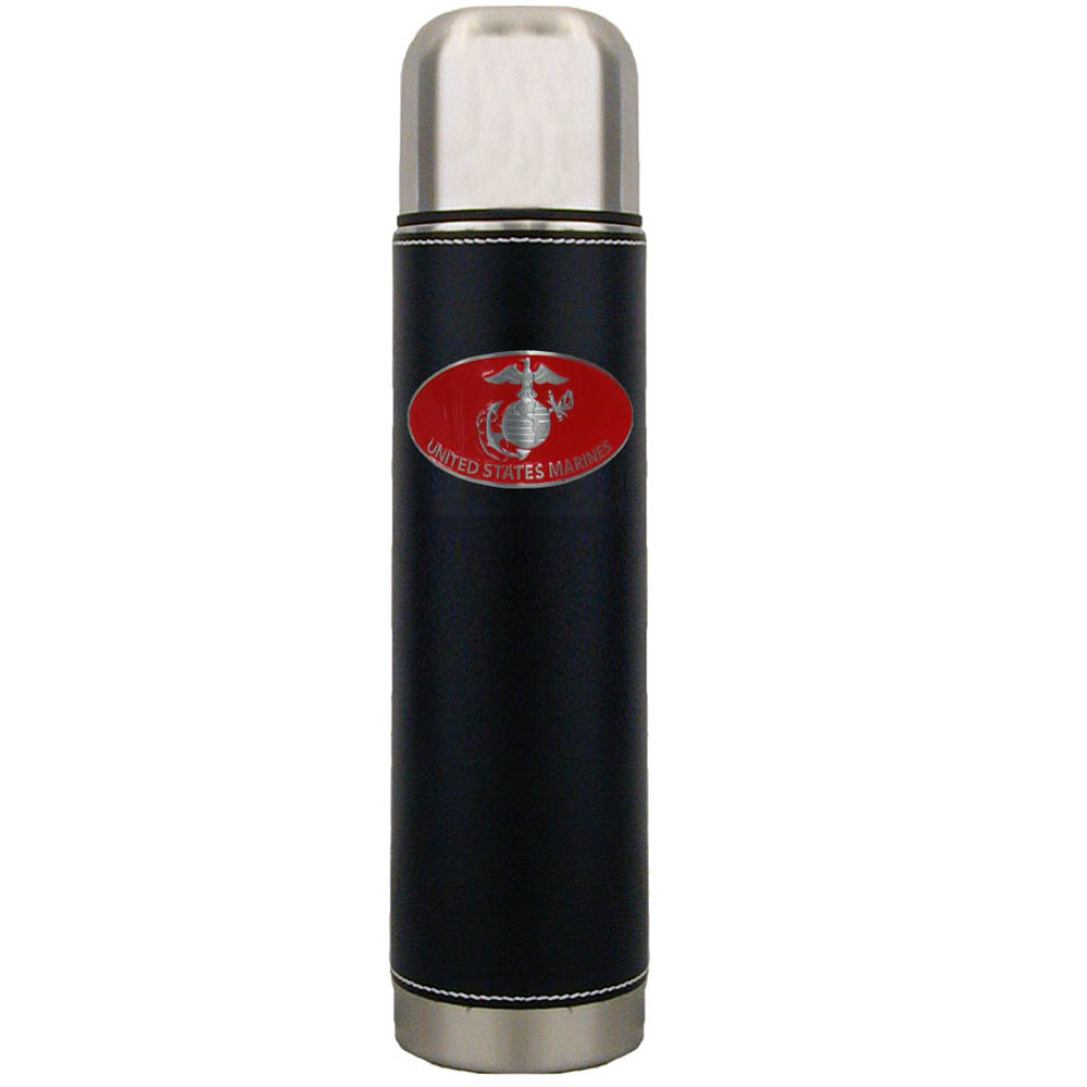 Marines Thermos - Keep your drinks piping hot for the big game with our collegiate thermos featuring a cast & enameled Marines emblem.