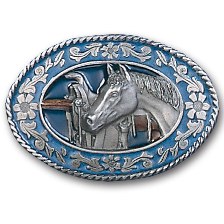 Belt Buckle - Horse head and Saddle - This finely sculpted and enameled belt buckle contains exceptional 3D detailing. Siskiyou's unique buckle designs often become collector's items.