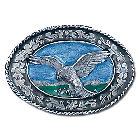 Belt Buckle - Western Eagle - This finely sculpted and enameled belt buckle contains exceptional 3D detailing. Siskiyou's unique buckle designs often become collector's items.
