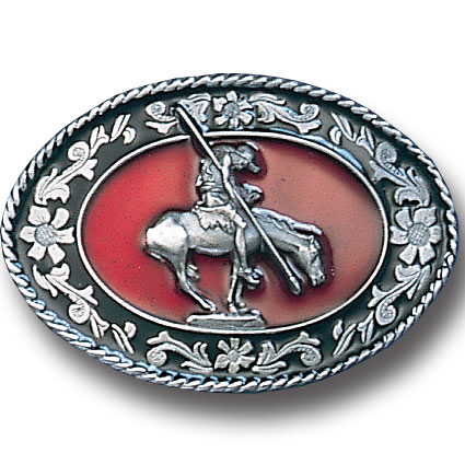 Belt Buckle - End of the Trail Red  - This finely sculpted and enameled belt buckle contains exceptional 3D detailing. Siskiyou's unique buckle designs often become collector's items.