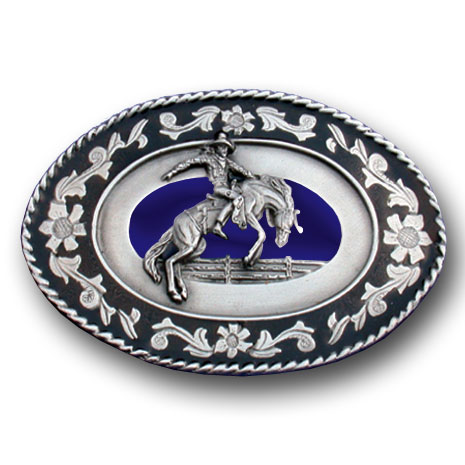 Belt Buckle - Cowboy Roping Cow  - This finely sculpted and enameled belt buckle contains exceptional 3D detailing. Siskiyou's unique buckle designs often become collector's items.
