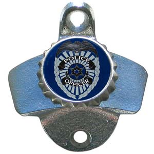 Police Wall Bottle Opener - Our sturdy wall mounted bottle opener is a great addition for your deck, garage or bar to show off your armed forces pride.