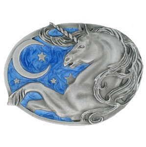 Belt Buckle - Unicorn Moon/Stars - This finely sculpted and enameled belt buckle contains exceptional 3D detailing. Siskiyou's unique buckle designs often become collector's items.