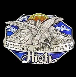 Belt Buckle - Rocky Mountain High  - This finely sculpted and enameled belt buckle contains exceptional 3D detailing. Siskiyou's unique buckle designs often become collector's items.