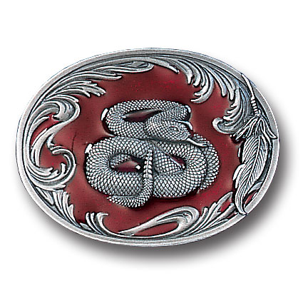 Belt Buckle - Rattlesnake - This finely sculpted and enameled belt buckle contains exceptional 3D detailing. Siskiyou's unique buckle designs often become collector's items.
