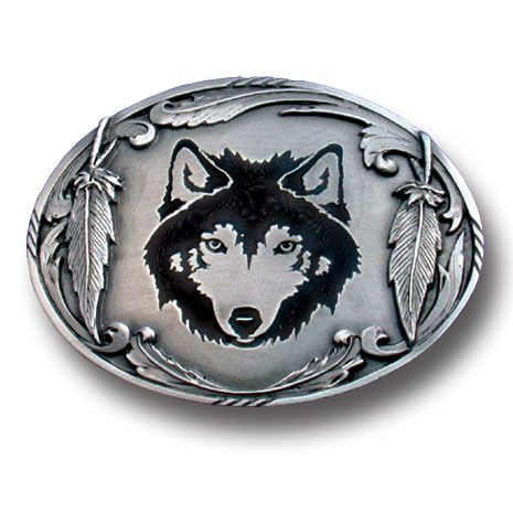 Belt Buckle - Wolf Silhouette - This finely sculpted and enameled belt buckle contains exceptional 3D detailing. Siskiyou's unique buckle designs often become collector's items.