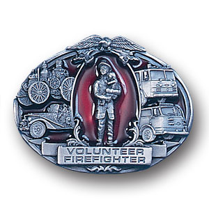 Belt Buckle - Volunteer Firefighter - This finely sculpted and enameled belt buckle contains exceptional 3D detailing. Siskiyou's unique buckle designs often become collector's items.