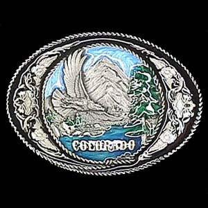 Belt Buckle - Colorado with Western Scroll - This finely sculpted and enameled belt buckle contains exceptional 3D detailing. Siskiyou's unique buckle designs often become collector's items.