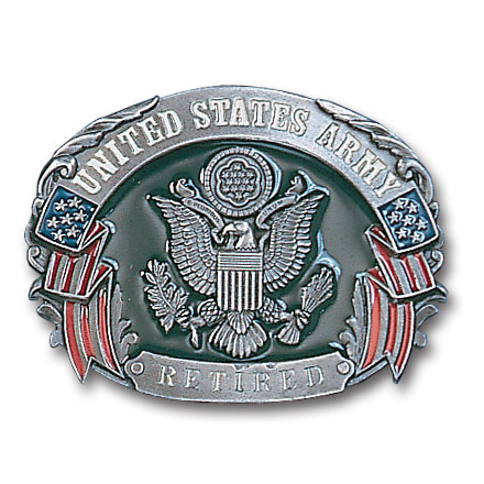 Military Belt Buckle - US Army Retired  - This finely sculpted and enameled belt buckle contains exceptional 3D detailing. Siskiyou's unique buckle designs often become collector's items.