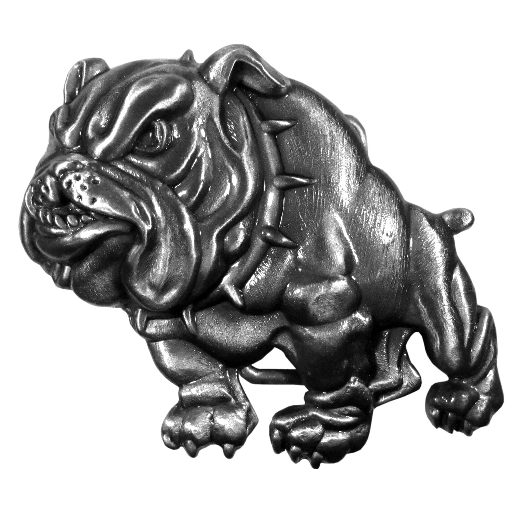 "Bulldog Antiqued Belt Buckle - ""This belt buckle is in the shape of a bulldog with a spiked collar with intricate detail.  This exquisitely carved buckle is made of fully cast metal with a standard bale that fits up to 2"""" belts."""