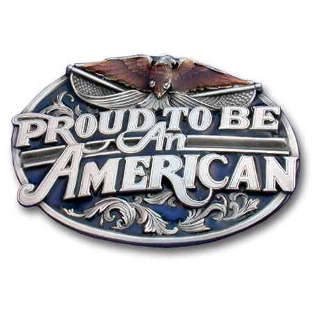 Belt Buckle - Proud to Be An American  - This finely sculpted and enameled belt buckle contains exceptional 3D detailing. Siskiyou's unique buckle designs often become collector's items.