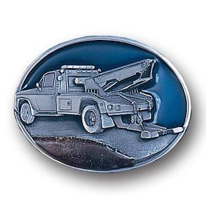Belt Buckle - Tow Truck Trucker - This finely sculpted and enameled Tow Truck Trucker belt buckle contains exceptional 3D detailing. Siskiyou's unique buckle designs often become collector's items.