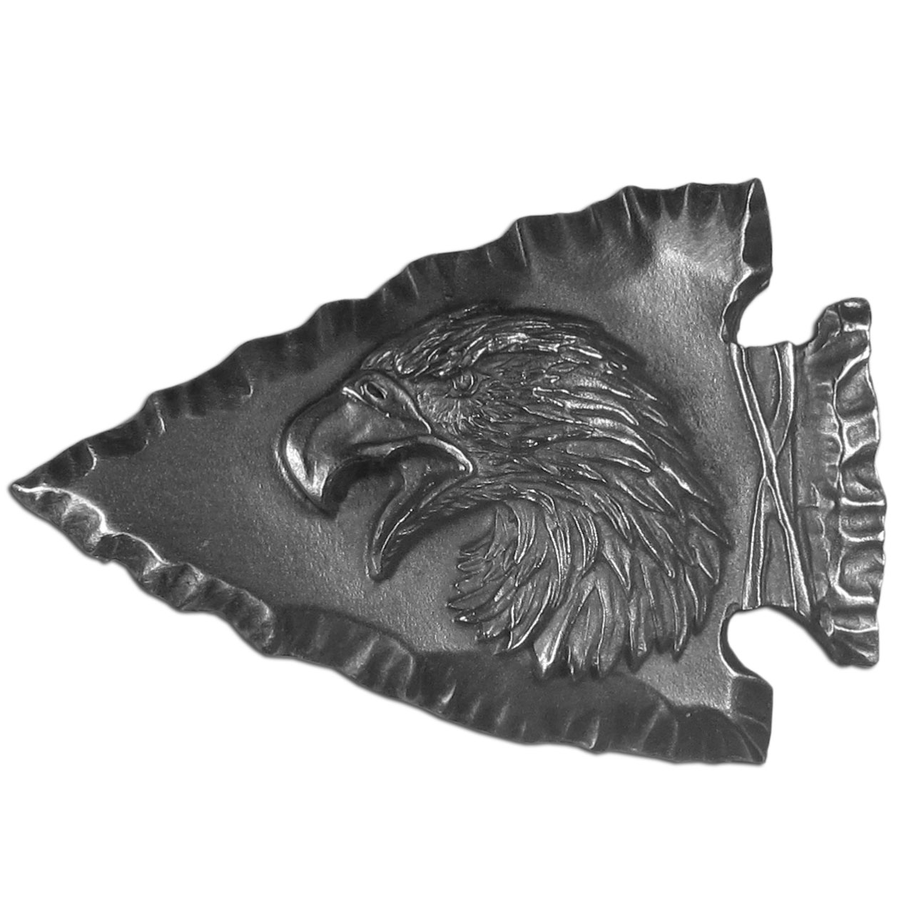 "Eagle Head Antiqued Buckle - ""his beautifully carved image is a Native American arrowhead with an eagle head on top of it.  Buckle is made of fully cast metal with a standard bale that fits up to 2"""" belts.This finely sculpted belt buckle contains exceptional 3D detailing. Siskiyou's unique buckle designs often become collector's items and are unequaled with the best craftsmanship."""