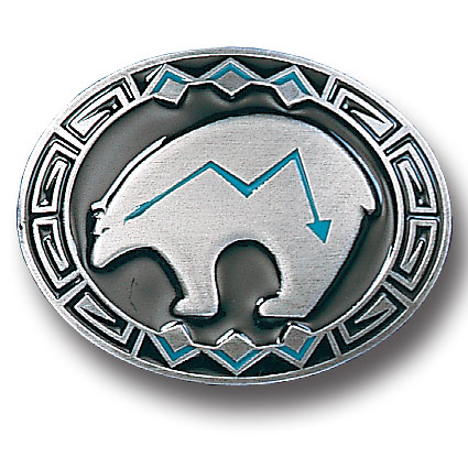 Belt Buckle - Bear Fetish  - This finely sculpted and enameled belt buckle contains exceptional 3D detailing. Siskiyou's unique buckle designs often become collector's items.
