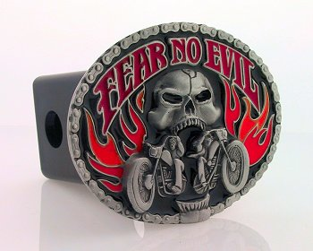 Trailer Hitch - Fear No Evil - Our finely crafted three-dimensional trailer hitch covers are hand enameled and come in many styles.
