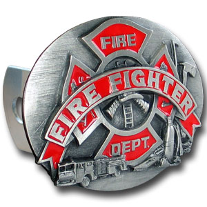 Trailer Hitch - Fire Fighting - Our finely crafted three-dimensional trailer hitch covers are hand enameled and come in many styles.