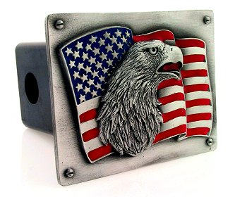Trailer Hitch - Eagle on Flag - Show your patriotism with this finely crafted three-dimensional pewter trailer hitch cover with hand enameling.