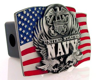 Trailer Hitch - Navy - Show your patriotism with this finely crafted three-dimensional trailer hitch cover with hand enameling.