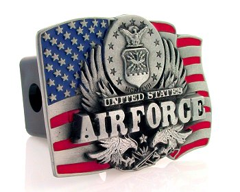Trailer Hitch - Air Force - Show your patriotism with this finely crafted three-dimensional trailer hitch cover with hand enameling.
