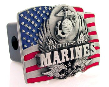 Trailer Hitch - Marines - Show your patriotism with this finely crafted three-dimensional trailer hitch cover with hand enameling.