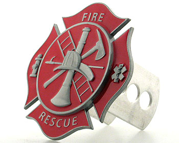 Hitch Cover- Fire Fighter's Cross - This unique, 3-D hitch cover is adjustable to fit standard hitches.  It's easy to install and comes with all hardware.  Hand painted in vibrant colors. Crafted out of a durable, non-corrosive, rust proof alloy. Great for a collection or personal use!