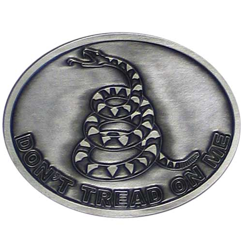 "Tea Party Buckle - Fully cast buckle featuring the ""Don't Tread on Me"" symbol and motto."