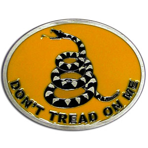 "Tea Party Buckle - Cast & Enameled buckle featuring the ""Don't Tread on Me"" symbol and motto."