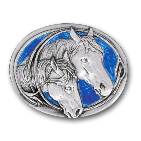 Belt Buckle - Two Horse Heads  - This finely sculpted and enameled belt buckle contains exceptional 3D detailing. Siskiyou's unique buckle designs often become collector's items.