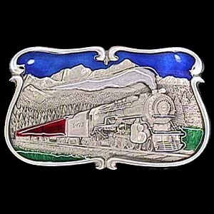Belt Buckle -  Train Locomotive in the Mountains  - This finely sculpted and enameled Train Locomotive in the Mountains belt buckle contains exceptional 3D detailing. Siskiyou's unique buckle designs often become collector's items.