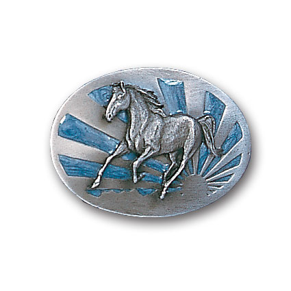 Belt Buckle - Running Horse with Sun  - This finely sculpted and enameled belt buckle contains exceptional 3D detailing. Siskiyou's unique buckle designs often become collector's items.